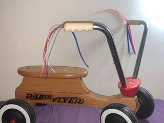 Vintage Radio Flyer Childs 4 Wheel Scooter Cycle location Under Pool Table