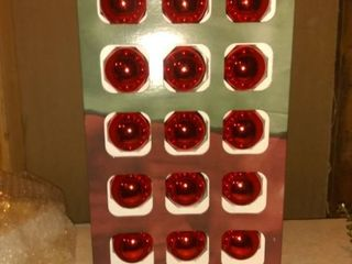 54 Holiday Time Shiny Glass Ornaments  18 Red  1 3 4  Size W hooks