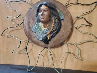 Native Themed Wall Decor Sun with Metal Rays  Made in Mexico