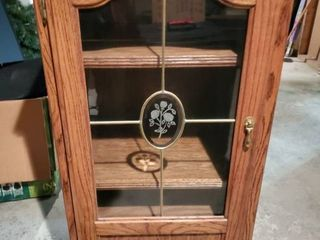 Wooden Cabinet with Grass Door  Glass Door has a Fogged Rose