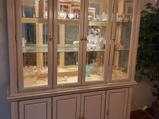 SARATOGA 2 Piece Off White Display Cabinet with lights and Glass Shelves with lower Storage  CONTENTS NOT INClUDED