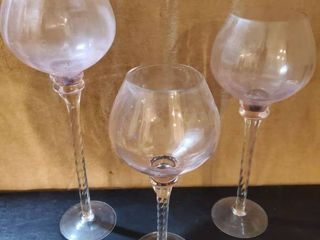 lot of 3 Pink Tinted Glass Tall Glasses for Candles