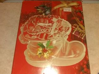 Mikasa large Christmas Boot Frosted Bon Bon Candy Dish Nut Serving Dish Germany