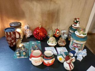 Mega lot of Christmas Decor  Precious Momwnt  Jewelry Egg  Collectible Ornaments  New Coffee Mug and More