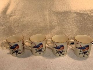 Set of 4 lenox Winter Greetings Easyern Bluebird Mugs By Catherine McClung location Kitchen Corner Cabinet