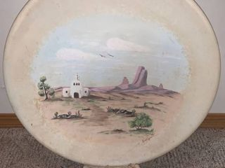 large Southwestern Hand Painted Signed Clay Plate location Wall