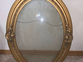 Antique Gilded Carved Wood Oval Picture Frame With Glass location Wall