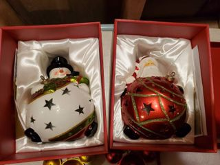 Set of 2 light Up Santa and Snowman Ornaments