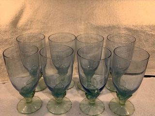 Set of 8 Blue and Green Crystal Glasses location Kitchen Cabinet