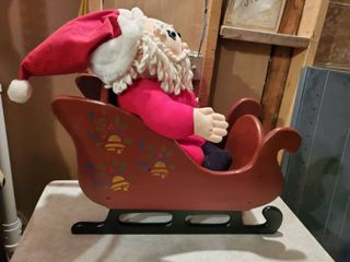 Hand Painted Wooden Sleigh with Stuffed Cloth Santa
