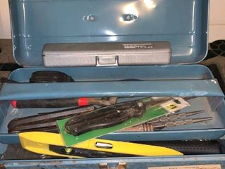 Small Metal Toolbox With Tools location Garage