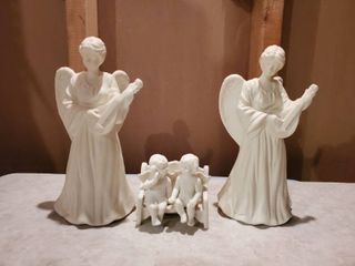 Porcelin Angel Candle Sticks and Angel on Bench Figurines
