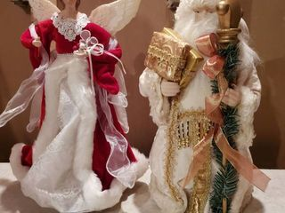 Two Christmas Tree Toppers   Red Angel and Gold Tone Santa