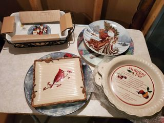 lot of Santa and Christmas Dishes and lazy Susan