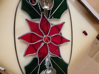Holly Stained Glass Candle Holder