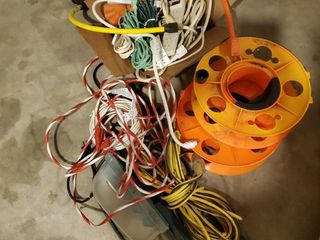 lot of Extension Cords  Reels  Power Strips  and More