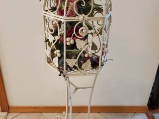 Wrought Iron Floral Cage Stand