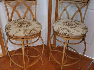 Wrought Iron Floral Barstool  Clean