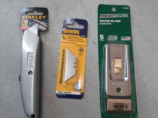 Masterforce Razor Blade Safety Scraper with 5 Blades  Stanley Box Knife and 5 Pack of Blades