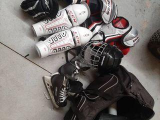 Kids Hockey Equipment in Bag