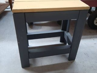 Gray   Yellow Painted Side Table