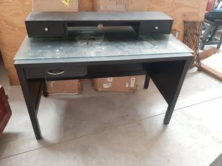 Black Desk with Glass Top and Shelf with 2 Drawers