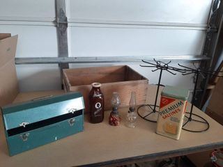 Wood Crate with Cracker Tin  Milk Bottle and 2 Small Oil lamp   1 is Goofus Glass