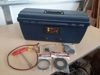 Toolbox With Tester and Gas Powered RC Car Parts