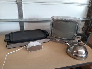 Tea Kettle  Alarm Clock  RCA Vacation TV and Griddle  Missing Cord