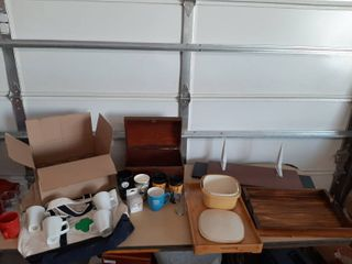 Catch All lot   Glasses  Mugs  Trays and Wood Chest
