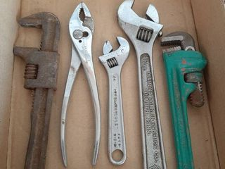 2 Adjustable Wrenches  Pliers  Ridgid Pipe Wrench and Monkey Wrench