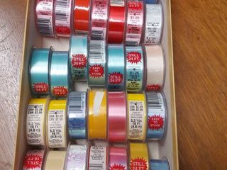 approximately 36 rolls assorted ribbon