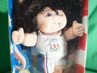 1996 Olympikids Girl Curly Black Hair   Cabbage Patch Kids