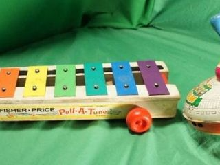Child s Vintage Xylophone and Metal Spinner