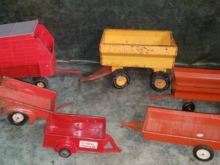 lot of Pressed Steel Toy Trailers