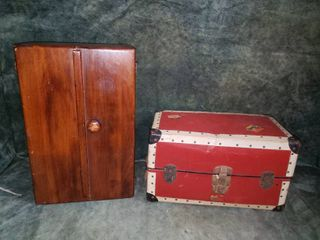 Antique Doll Trunk  Wardrobe and Clothes