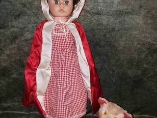 22  little Red Riding Hood Doll and Mohair Wolf