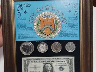 The Silver Story Frame   1957 Silver Certificate  1964 Kennedy Half Dollar  Silver Granules  1943 War Nickel and 1943 Steel War Penny