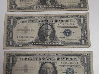 3  Silver Certificates   1957A and  2  1957B