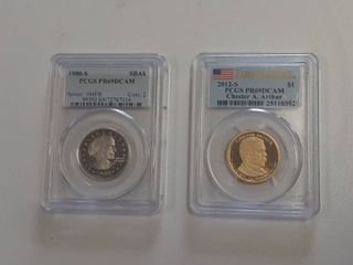 1980 S Proof Susan B Anthony Dollar and 2012 S Proof Chester A Arthur Dollar