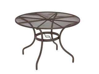 42 in  Mix and Match Brown Mesh Metal Round Outdoor Patio Dining Table