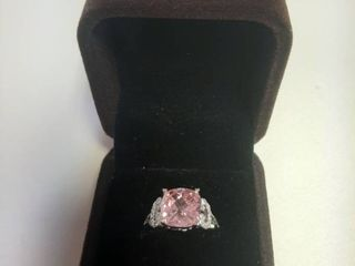 Ring with Pink Stone in Box