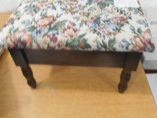 Cream and Cherry Accent Foot Stool