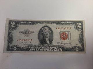 Series 1953 Red Seal 2 Dollar Bill