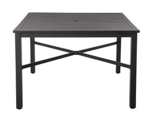 42 in  Mix and Match Black Square Metal Outdoor Patio Dining Table with Slat Top