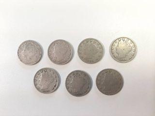 7  liberty Head V Nickels    3  1905  1907   3  1910
