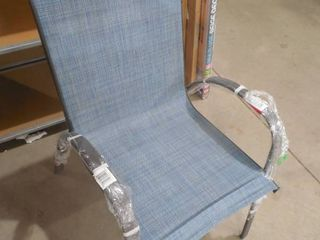 Stackable Brown Steel Sling Outdoor Patio Dining Chair in Denim