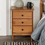 2  Classic Mid Century Modern 3 Drawer Caramel Solid Wood Nightstand