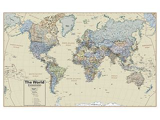 Round World Products Hemispheres Boardroom Series World Wall Map  38 Inches x 61 Inches