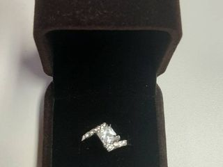 Ring with Square Cut Stone in Box